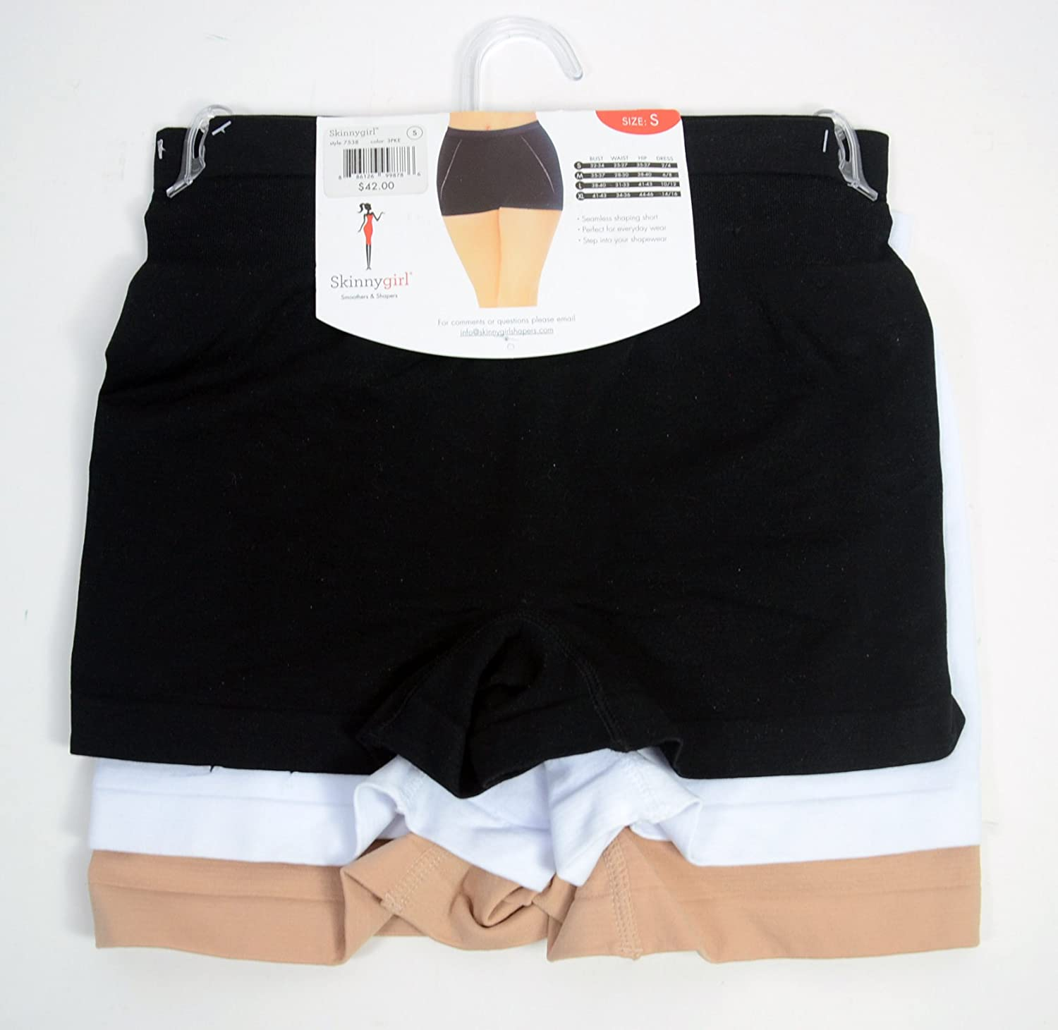 3 Pack Small Skinnygirl by Bethenny Frankel Seamless Shaping Shorts Underwear Black//Nude//White