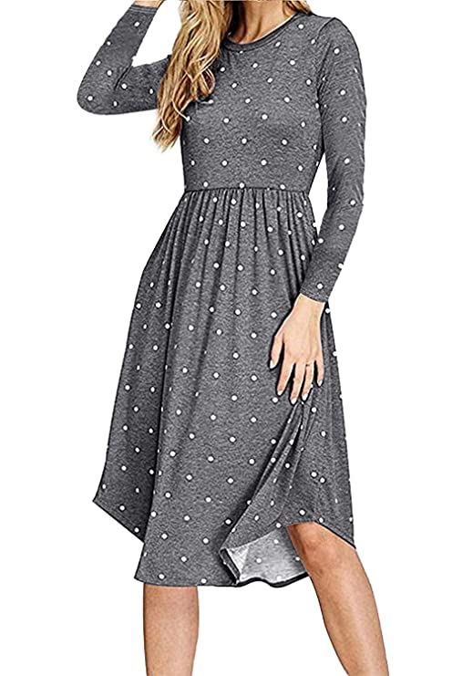 Simier Fariry Women Long Sleeve Pockets Loose Flowy Casual Tunic Dress Gray S best long-sleeved dress