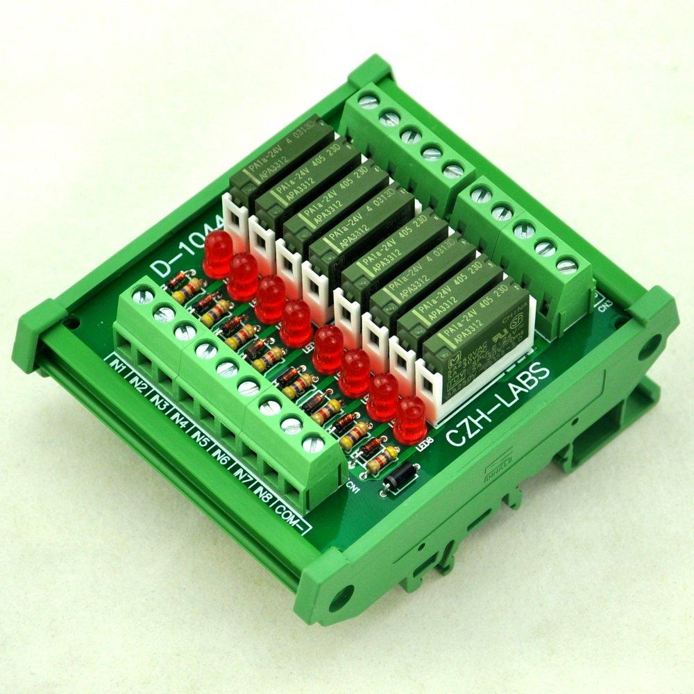ELECTRONICS-SALON Slim DIN Rail Mount DC24V Source/PNP 8 SPST-NO 5A Power Relay Module, PA1a-24V