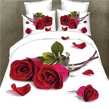 Fesselnd DZW 3D Effekt Bilder 4 StüCk Komplette BettwäSche Set Rote Rosen Design  Bettbezug Spannbettlaken 2
