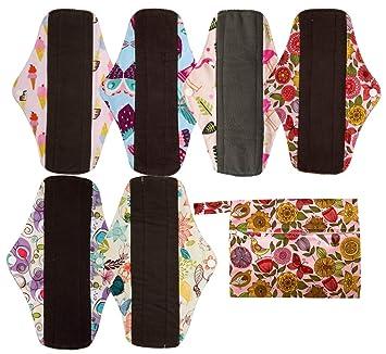 6pcs 10 Inch Regular Charcoal Bamboo Mama Cloth// Menstrual Pads// Reusable Sanitary Pads 7pcs Set 1pc Mini Wet Bag