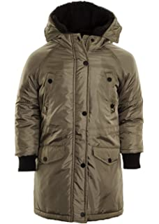 Boy/'s Sherpa Collar Quilted Puffer Parka Jacket Smart Coat Ages 5 6 7 8 9 10 11