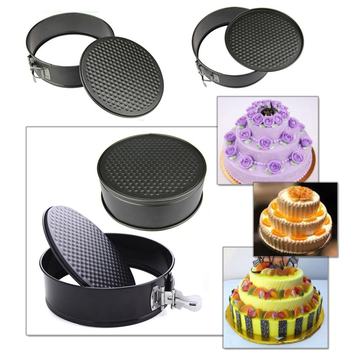 Tacoli- 22cm Metal Round Shape Pan Cake Mold Baking Molds Non-stick Cake Buckle Mould Cake Decorating Tools Kitchen Gadgets
