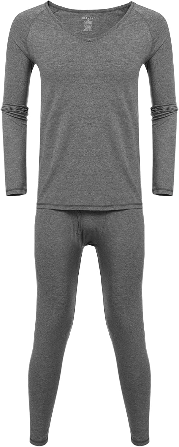 Ekouaer Men Thermal Underwear Set V-Neck Raglan Long Sleeve Fleece Lined Top and Bottom Sleepwear