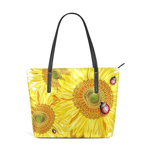 Amazon.com: Art acuarela girasol bolsos de piel bolsos ...