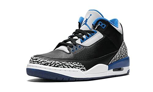 81536b89096fd1 ... inexpensive nike mens air jordan 3 retro black sport blue wolf grey  leather basketball shoes 6ec3b