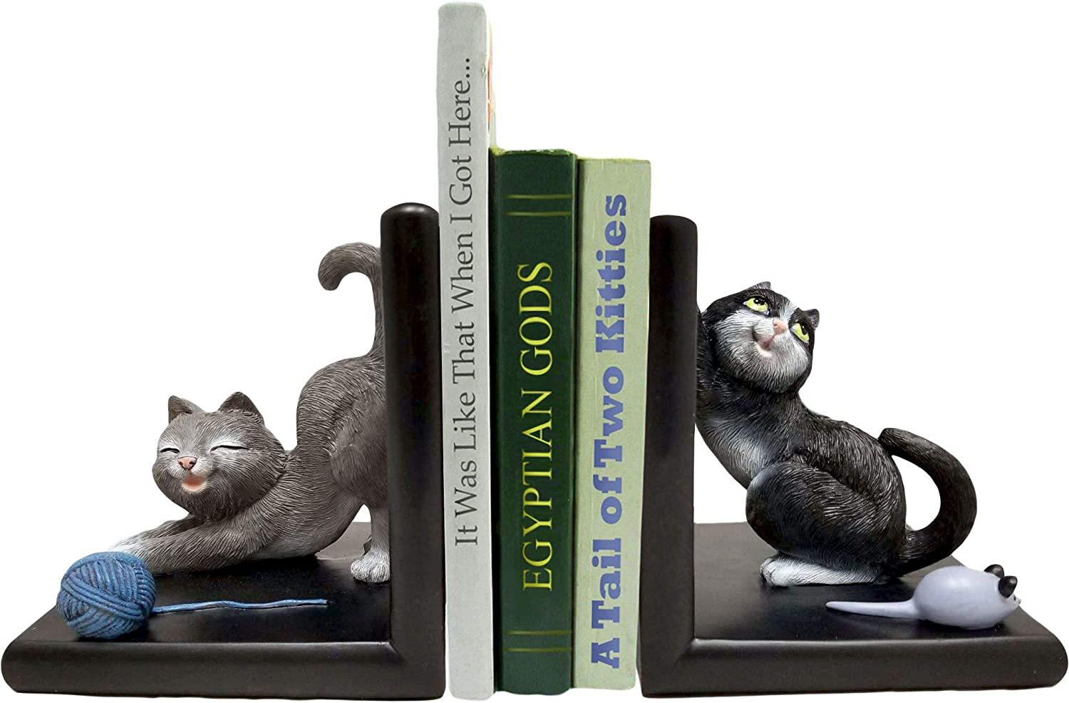 World of Wonders - Meow & Forever Series - Tales of Two Kitties - Collectible Kitty Cats Playing with Toys Bookends for Home Office Bookshelf and Library Décor, 5.5-inch