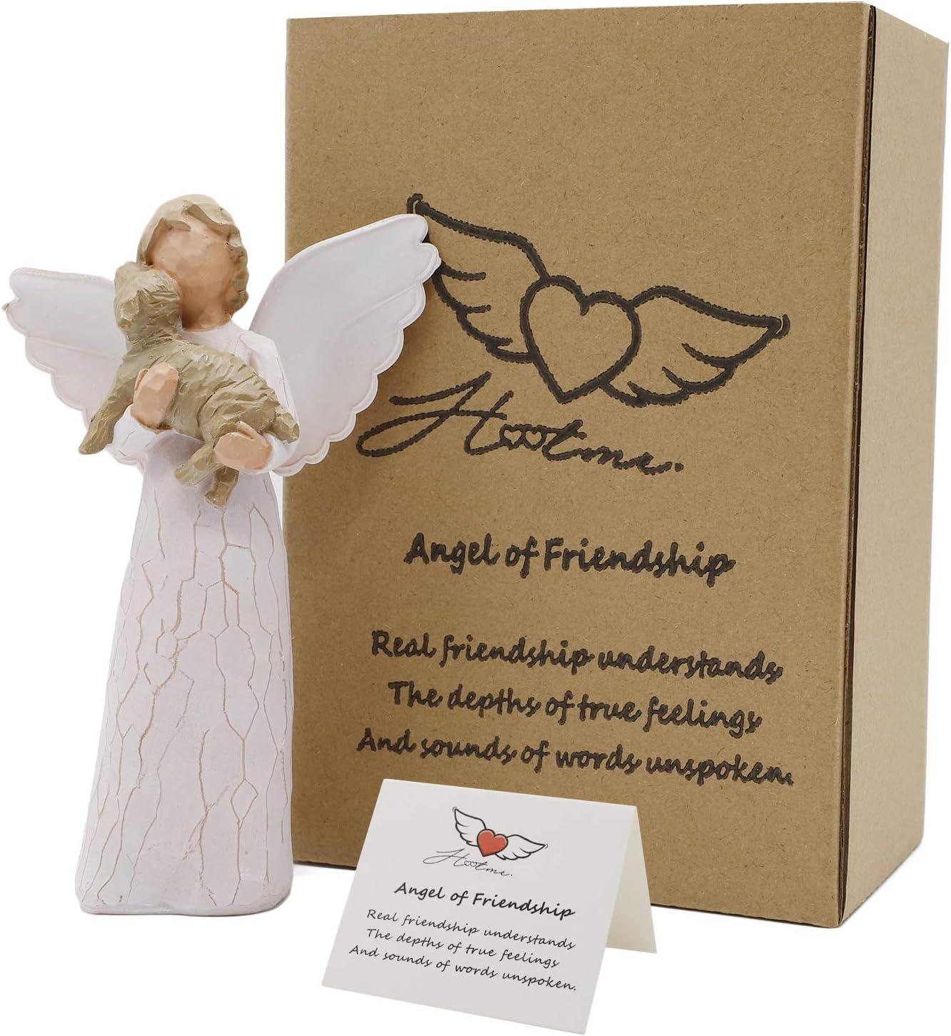 Guardian Angel Figurine, Angel of Friendship - Hand Carved Praying Angel Sculpture, Encouragement Present, Home Decoration Gift toShow Love, Sympathy, Gratitude, Bereavement, Friendship or Prayer