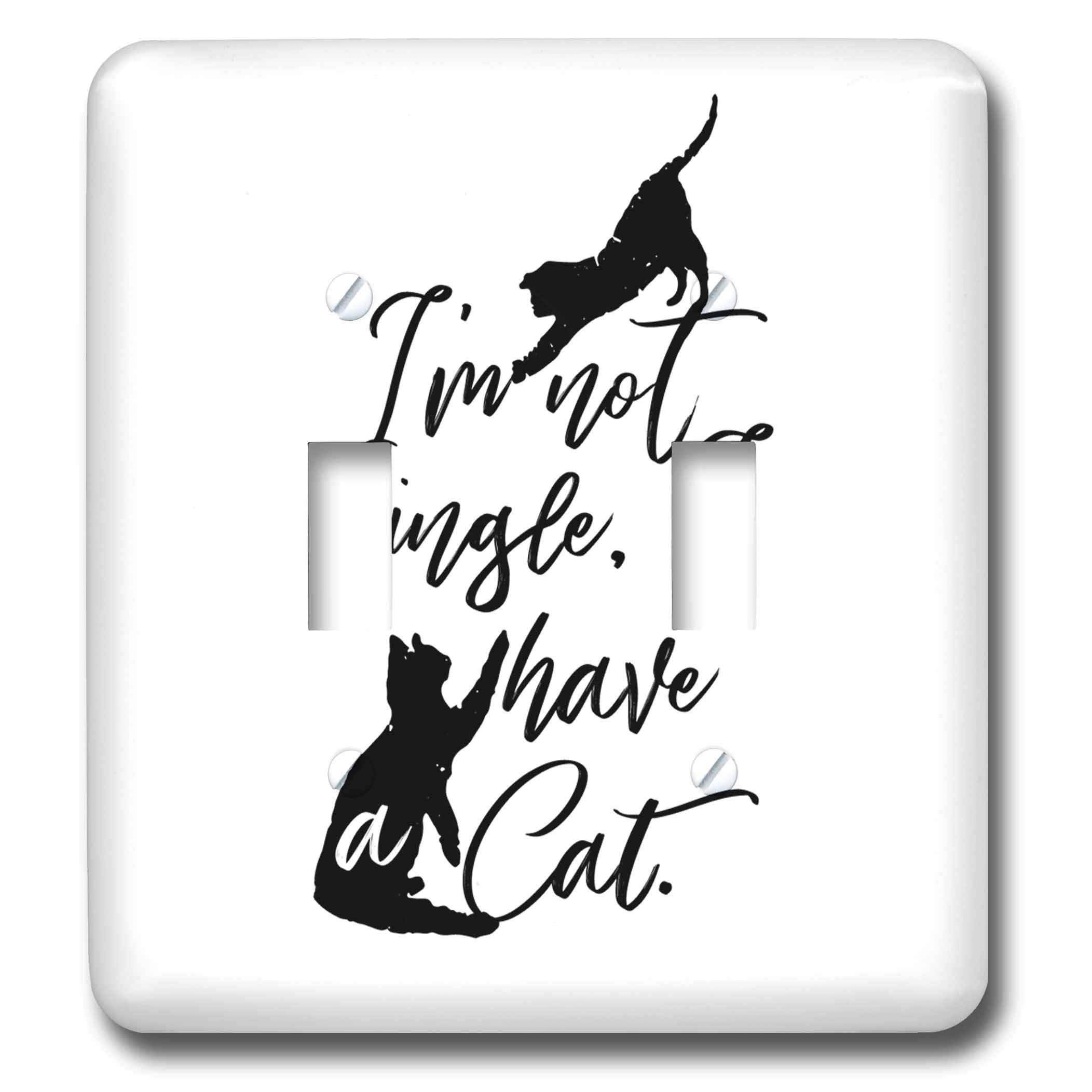 3dRose Becky Nimoy Stationery – Animals - Two cats playing hand-lettered style words, Im not single, I have cats - Light Switch Covers - double toggle switch (lsp_289193_2)