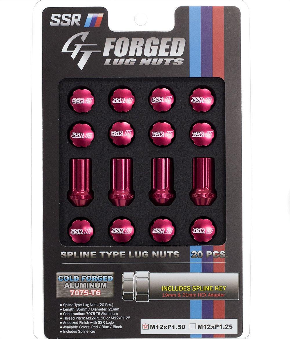 SSR Wheels GT-Forged Lug Nuts M12x1.5 Red (20 Piece Set w/ Socket) 1SB2CC215R0