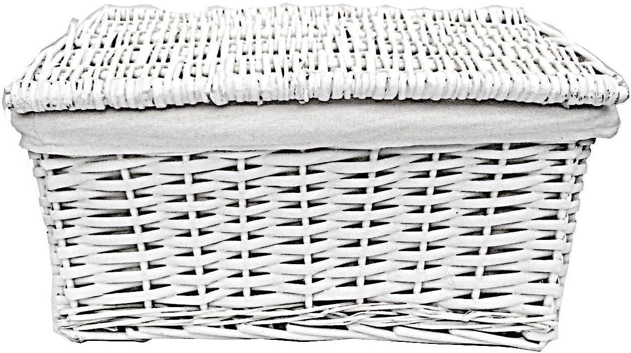 X Large 46x35x24cm topfurnishing White Wicker Storage Basket With Lid Lining Xmas Hamper
