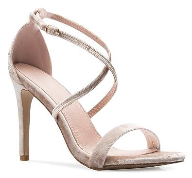 616e3e0a23 OLIVIA K Women's Elegant Cross Strap High Heel Sandals - Wedding, Dress,  Comfort,