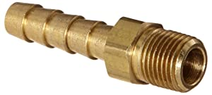 "Anderson Metals 57001-0402 Brass Hose Fitting, Adapter, 1/4"" Barb x 1/8"" NPT Male Pipe"