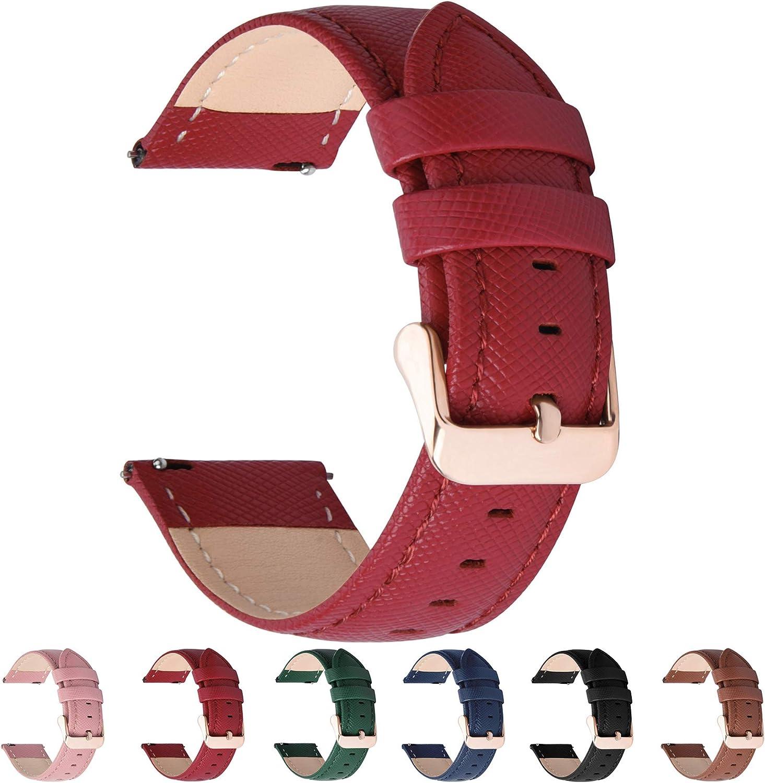 Fullmosa 6 Colores para Correa de Reloj, Cross Piel Correa Huawei Samsung Correa/Banda/Band/Pulsera/Strap de Recambio/Reemplazo 14mm 16mm 18mm 20mm 22mm 24mm,Rojo 18mm