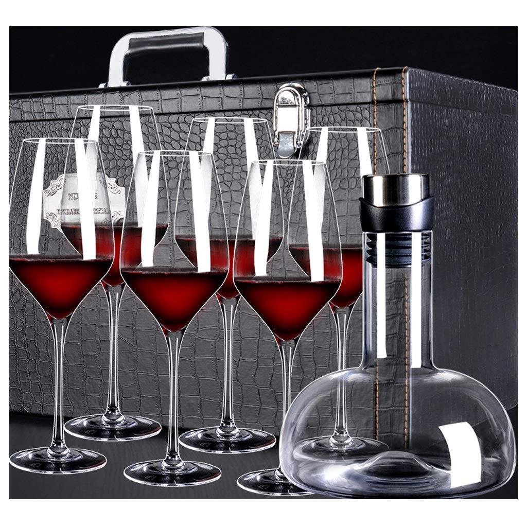 ゴブレット赤ワインデカンタセットギフトボックス、クリスタルガラス素材、大容量高速二日酔い、家庭の宴会ワインギフトに使用、8.2 * 26.5cm / 580ml + 16.5 * 22.5cm / 1200ml、7個セット (版 ばん : Gift Box) B07PKLDHQB  Gift Box