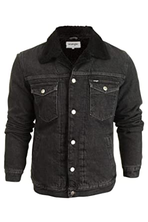 42bcdc094a Wrangler Mens Sherpa Black Denim Fleece Lined Button Up Jacket at ...