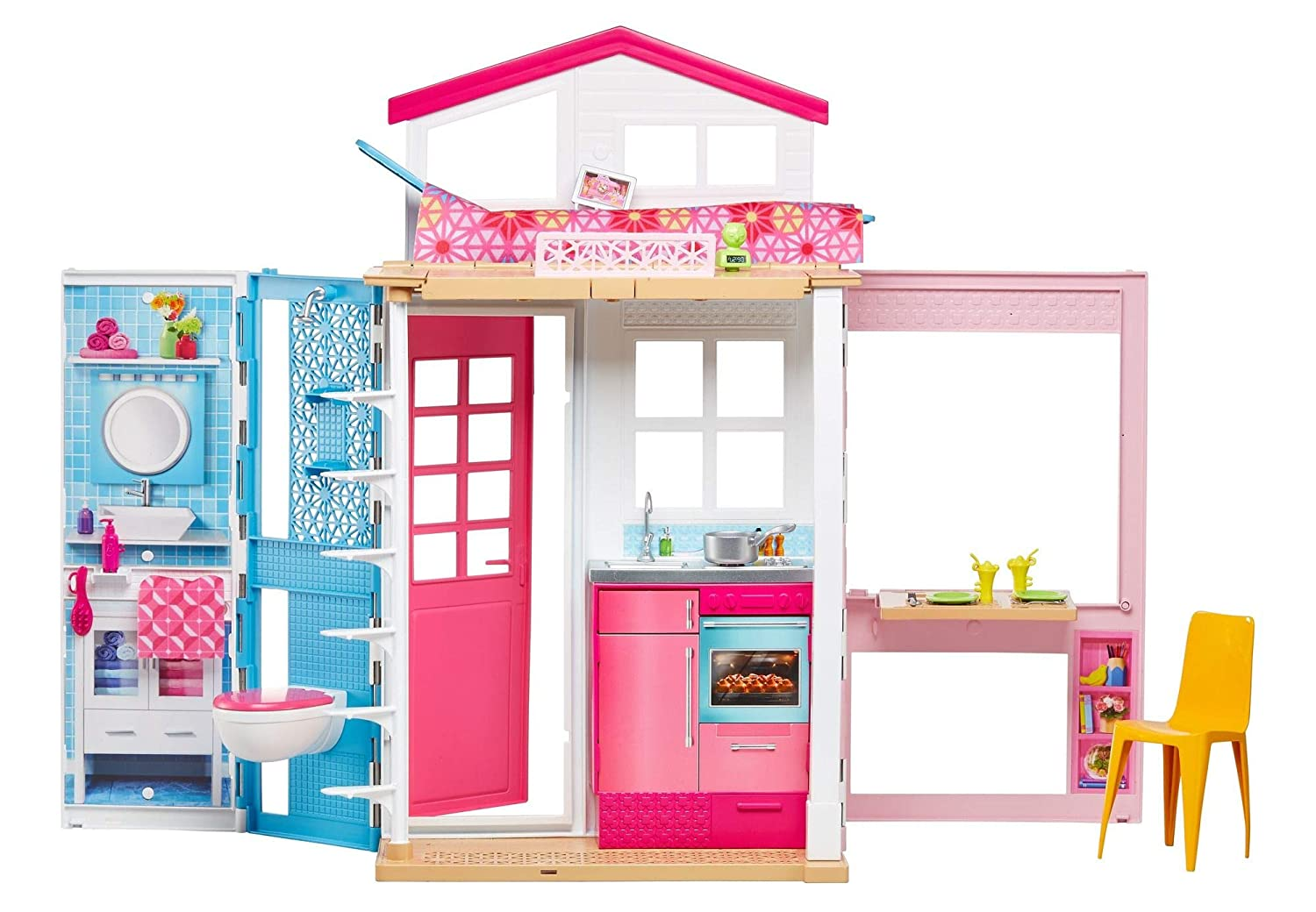 Amazon.com: Barbie 2 Story House With Furniture U0026 Accessories: Toys U0026 Games