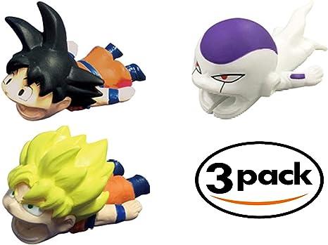 Cable Bite Dragon Ball Z, Super Design 3 Pack Goku, Super Saiyan Goku & Freeza para teléfono móvil Smartphone Compatible con iPhone Android USB Tipo C Cable Protector Cable Chompers por STMT: