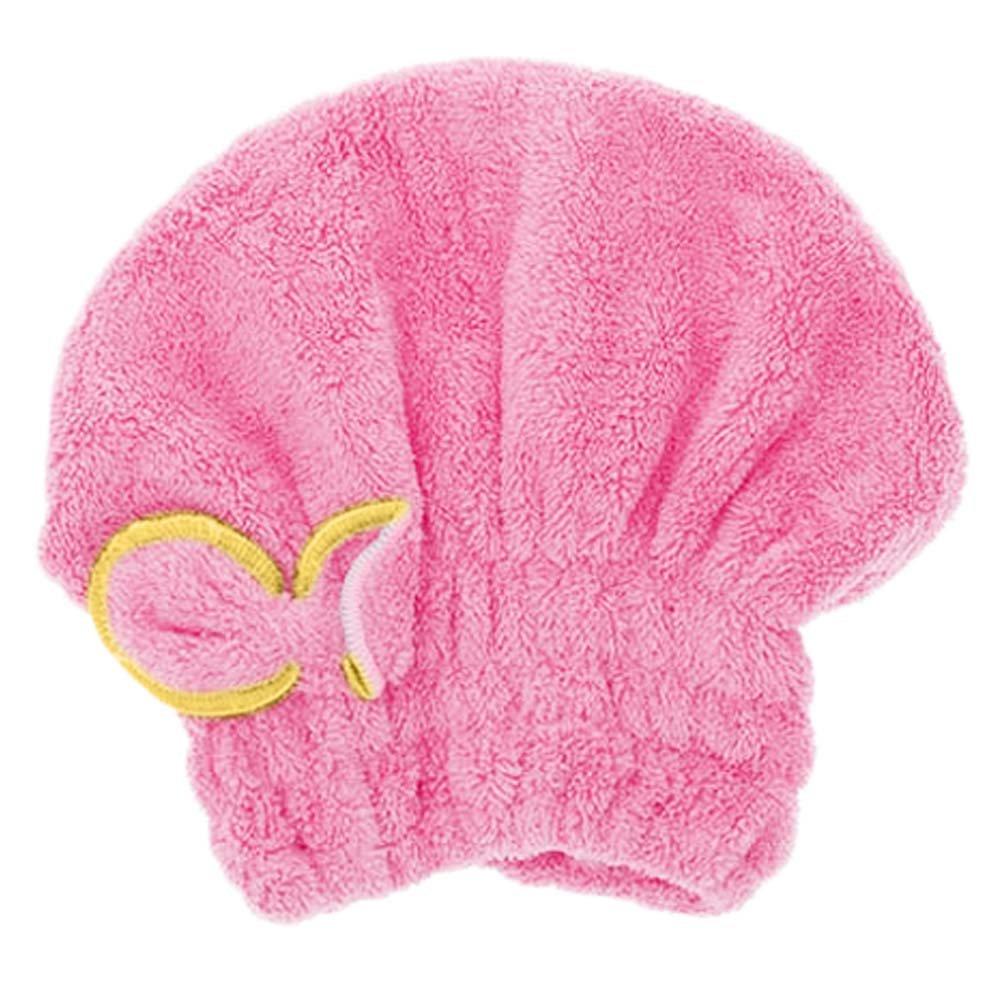 display08 Women Cute Bowknot Hair Drying Hat Soft Coral Velvet Micro-fiber Spa Towel Turban Cap (Blue)