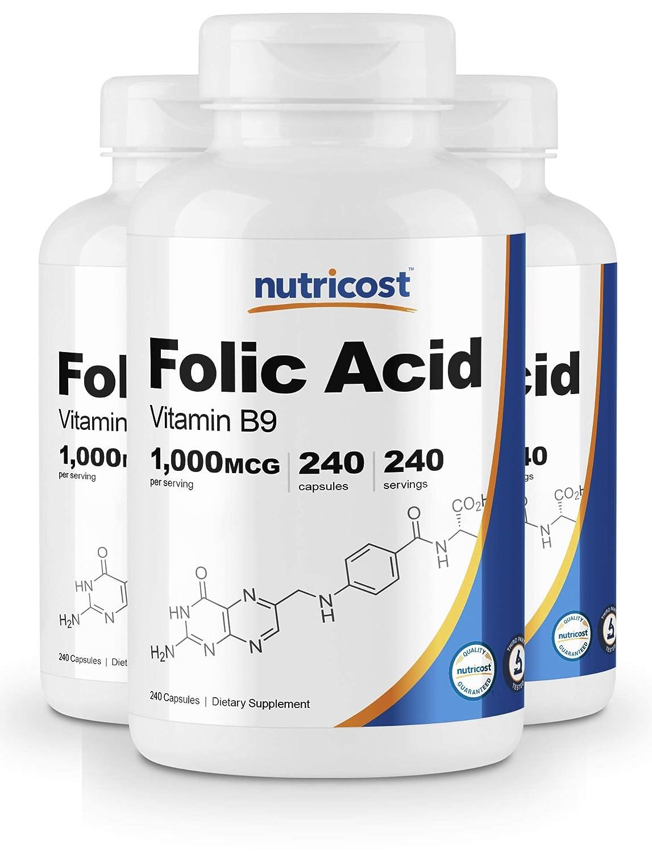 Nutricost Folic Acid Vitamin B9 1000 mcg, 240 Capsules 3 Bottles
