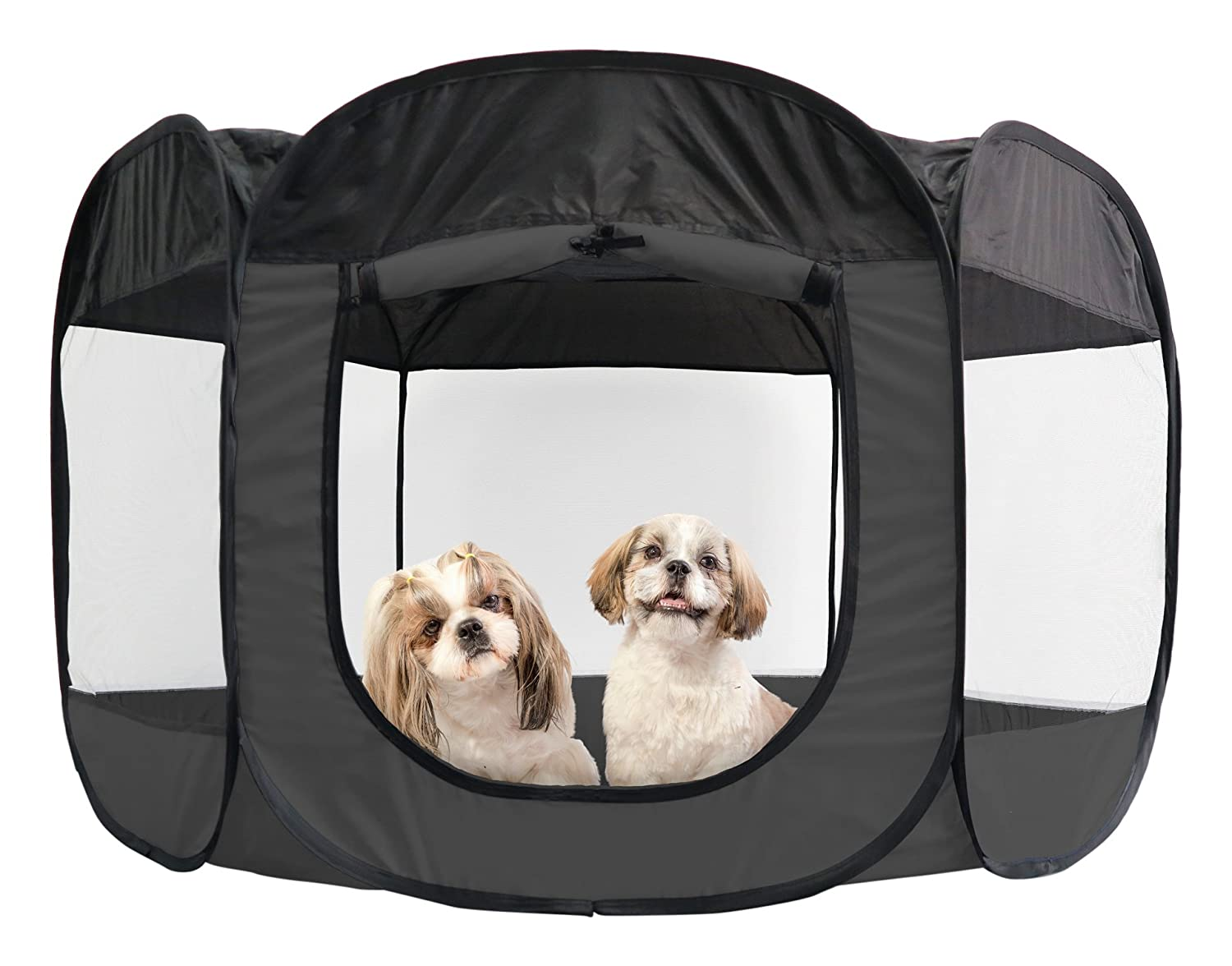 Furhaven Pet Playpen | Mesh Open-Air Dog Playpen/Exercise Pen - Available in 3 Colors & Multiple Sizes