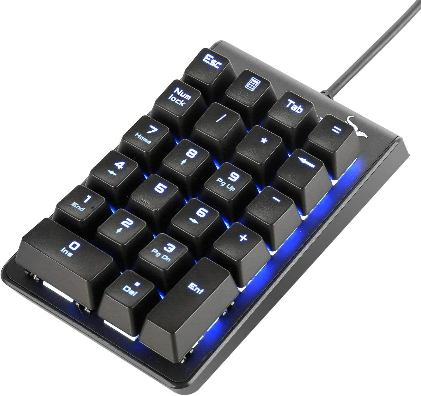 Number Pad, ROTTAY Mechanical USB Wired Numeric Keypad with Blue LED Backlit 22-Key Numpad for Laptop Desktop Computer PC - Black (Blue switches)