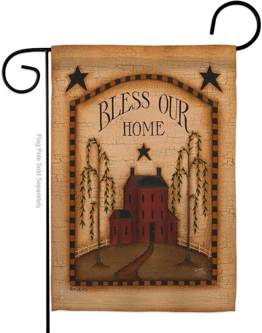 Primitive Classic Bless Our Home Garden Flag Country Living Farm Western Barn American Rustic Cowboy Rural Ranch Small Decorative Gift Yard House Banner Made in USA 13 X 18.5