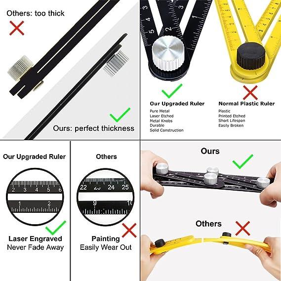 Craftsman Angleizer Template Ruler Home DIYers YANX Aluminum Multi-Angle Measuring Tool Universal Template Tool Black Angle Ruler for Builder Handyman Architects Carpenter