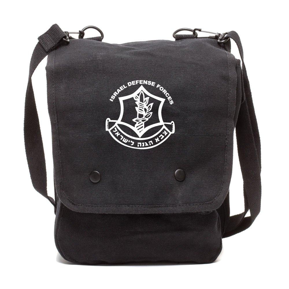Army Force Gear IDF Israel Defense Forces Emblem Symbol Canvas Crossbody Travel Map Bag Case