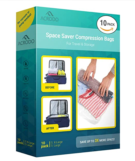 acrodo Ahorro de Espacio vacío de Bolsas – Paquete de 10 Unidades de compresión para Embalaje y Almacenamiento – No Rolling Ziplock para Ropa, Viajes, ...