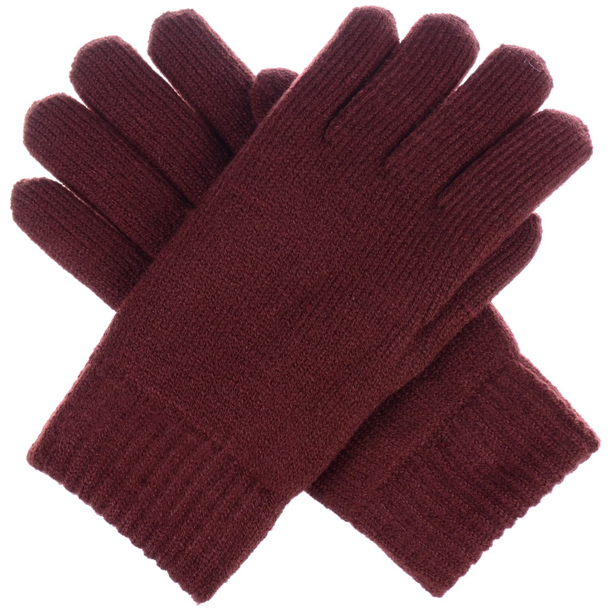 BYOS Winter Women's Toasty Warm Plush Fleece Lined Knit Gloves in Solid & Glitter 14 Solid Colors (Black) JG709-Black