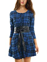 Allegra K Women's Plaids Long Sleeves Single Breasted Belted Mini A Line Dress