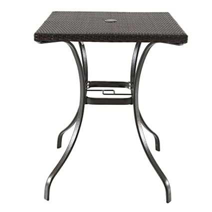 amazon com wicker table with umbrella hole bistro all weather for