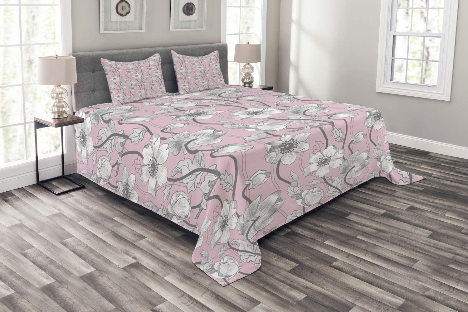 Ambesonne Pink and Grey Bedspread, Vintage Floral Anemones Fragrance Soft Toned Yoga Botanical Beauty Art, Decorative Quilted 3 Piece Coverlet Set with 2 Pillow Shams, Queen Size, Pale Grey