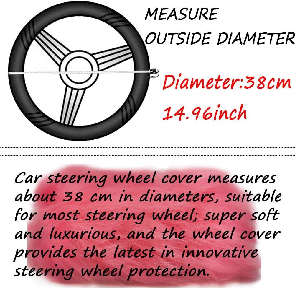 Pink ZYCC 3Pcs Fuzzy Steering Wheel Cover,100/% Australia Wool Winter Warm Fluffy Wheel Cover,Universal Thickening Warm Non-slip Auto Interior Accessories 38cm