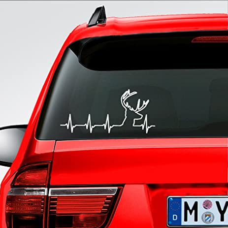 Amazoncom Car Laptop Deer Heartbeat Buck Hunting Car Truck - Rear window hunting decals for trucksamazoncom truck suv whitetail deer hunting rear window graphic