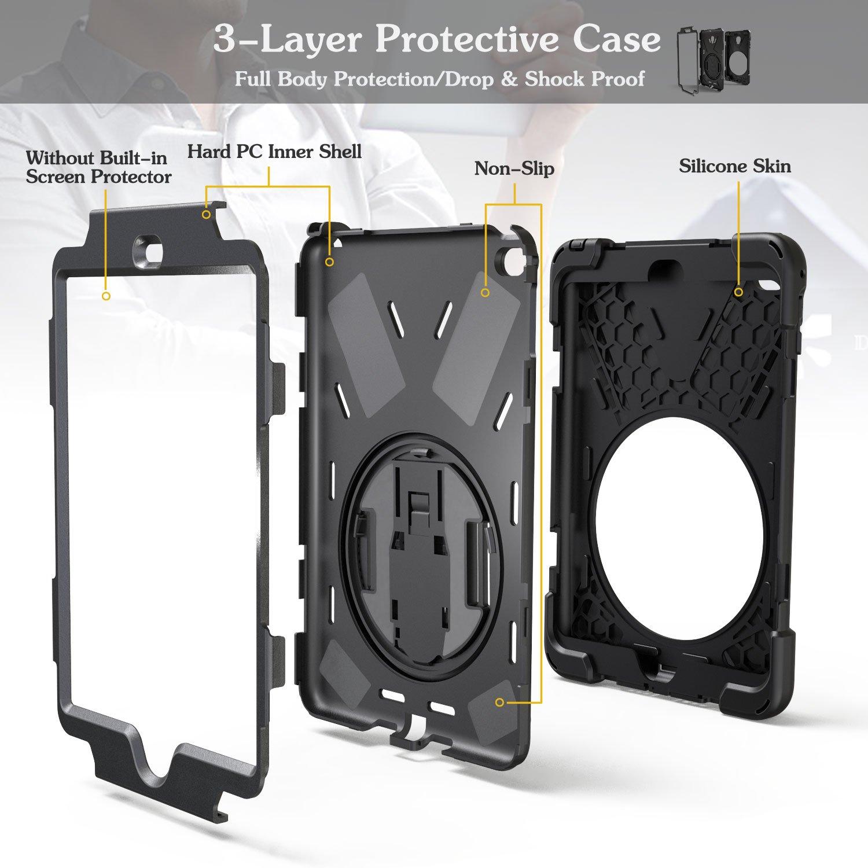 BLACK Braecn trois Couche Drop protection Rugged Protective Heavy Duty /étui pour iPad avec un support pivotant /à 360 degr/és//dune dragonne et dune sangle d/épaule pour liPad Mini 4 Coque iPad Mini 4 Coque