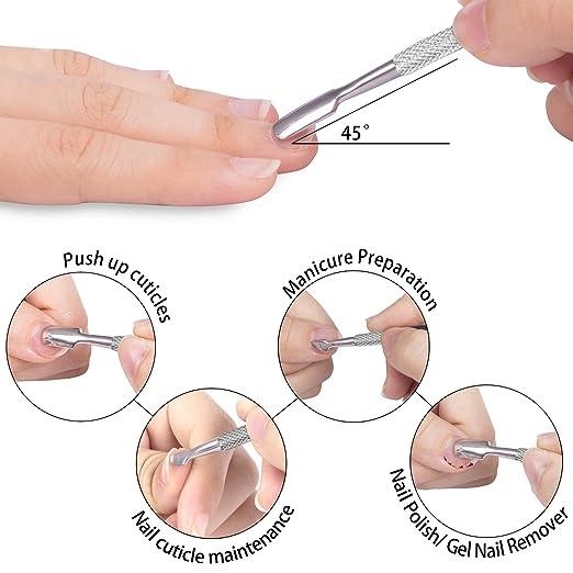 Ejiubas Alicates de uñas Pinza de Cutícula Cutícula Empujador de Cuchara Empujador de Cutícula Triangular: Amazon.es: Belleza