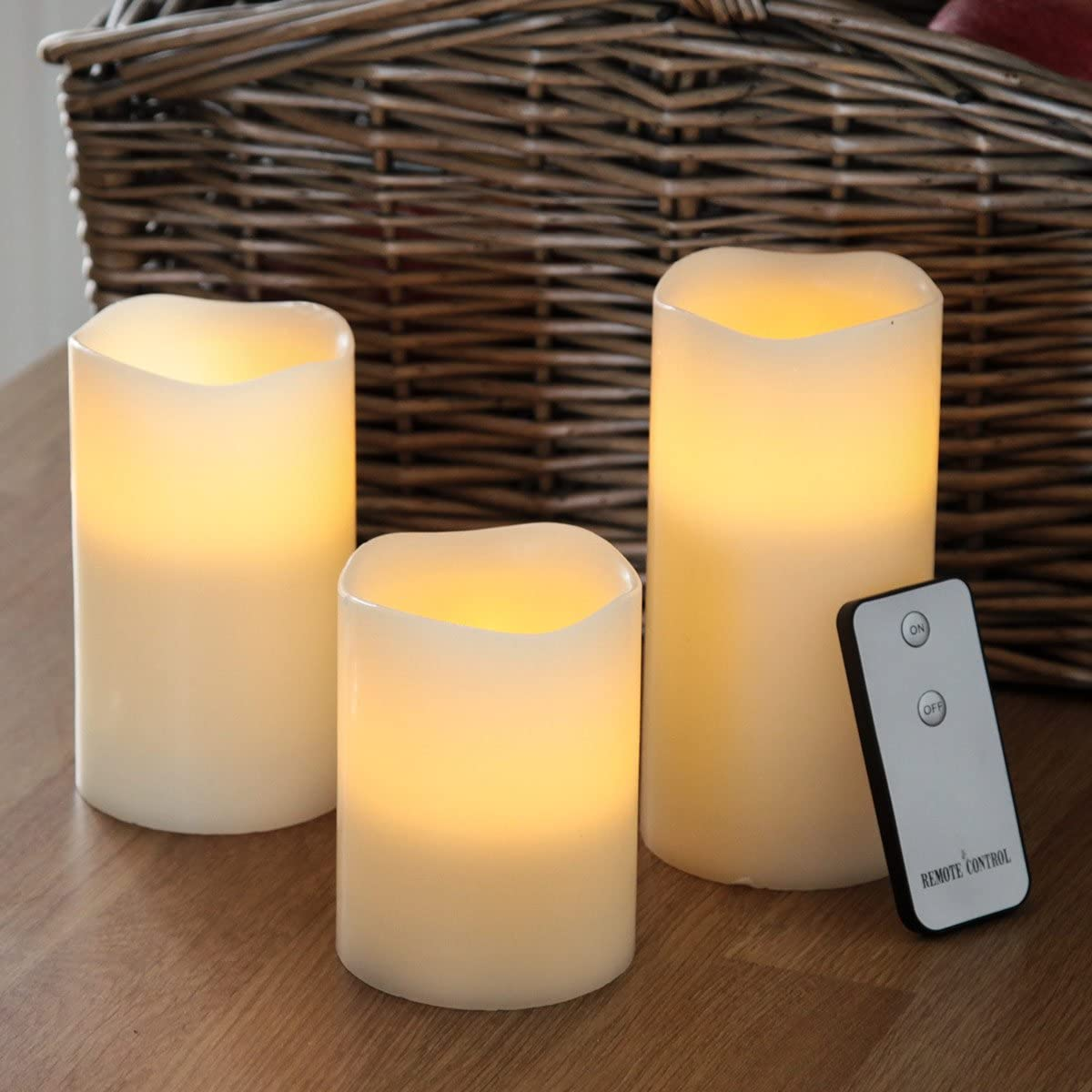 LED Remote Control Wax Flickering Flame Vanilla Scented Mood Candles Tea Light