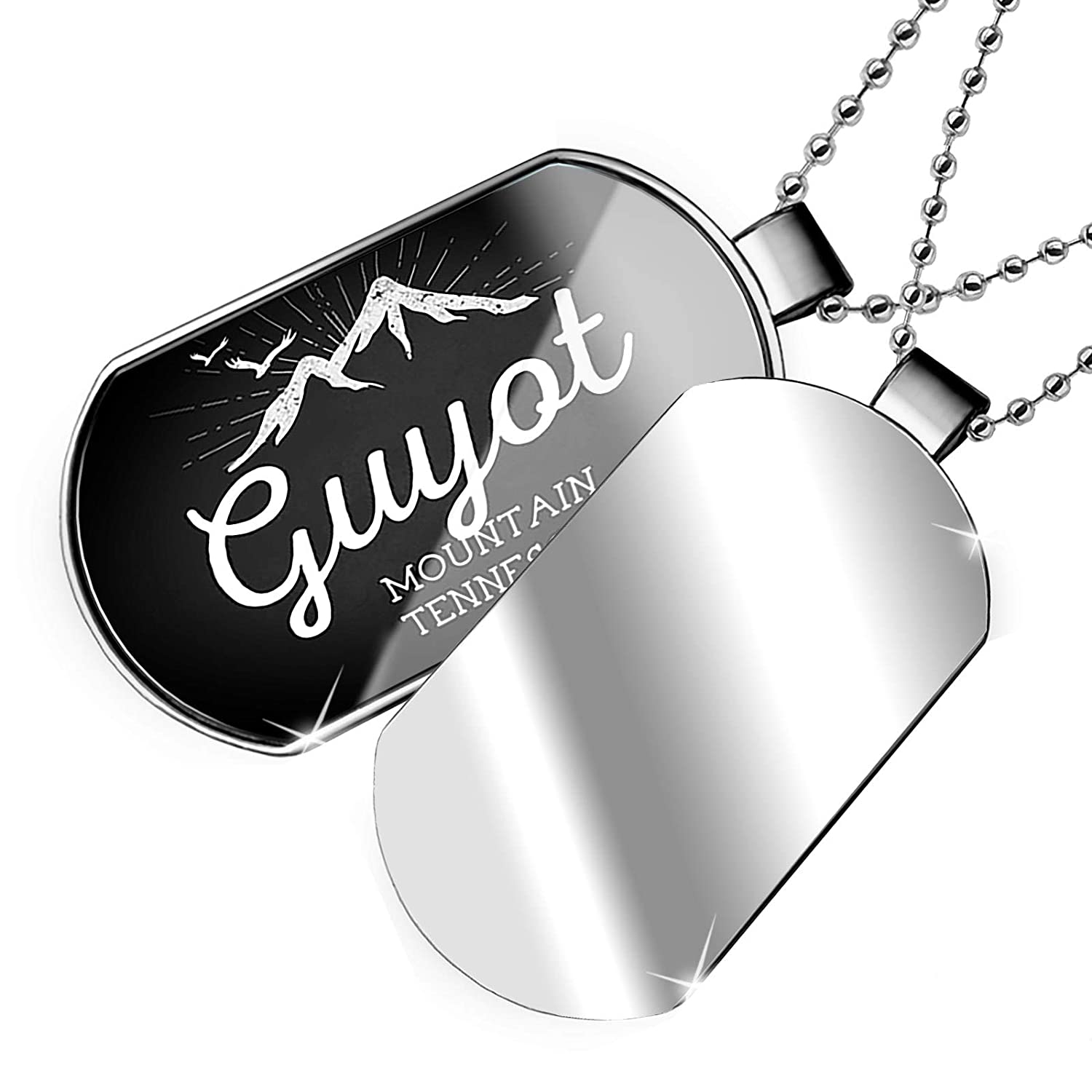 NEONBLOND Personalized Name Engraved Mountains Chalkboard Guyot Mountain Tennessee Dogtag Necklace