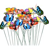 Topix Butterfly Garden Ornaments & Patio Decor Butterfly Party Supplies for Garden Yard Planter Colorful Whimsical Butterfly Stakes (24)
