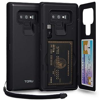 TORU CX Pro Funda Note 9 Carcasa Cartera con Tarjetero Oculto, Adaptador USB, Correa Desmontable y Espejo para Samsung Galaxy Note 9 - Negro Mate