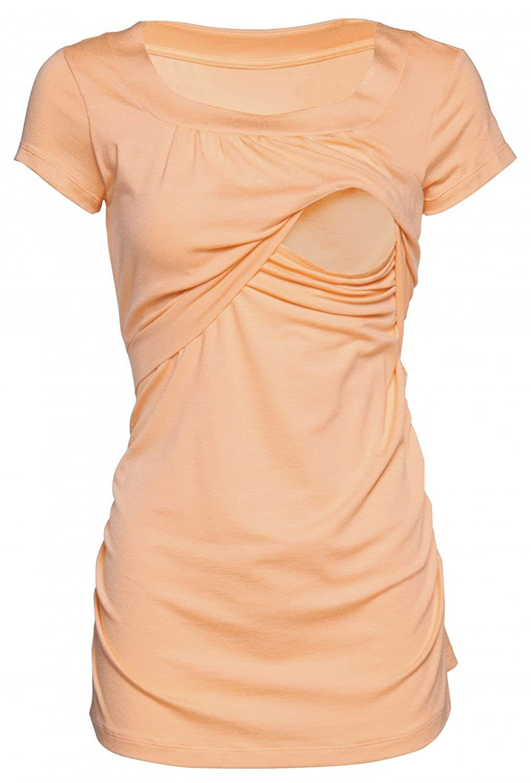 HAPPY MAMA Womens Maternity Nursing Double Layer T-Shirt Round Neckline 136p