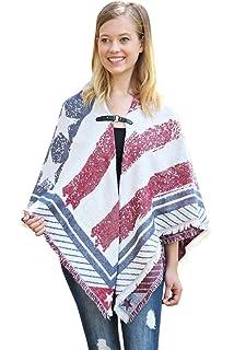 0d909843ec279 American Flag Patriotic Shawl Wrap Cardi - July 4 USA Stars Stripes Open  Kimono Cardigan,
