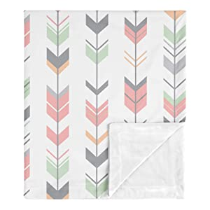 Sweet Jojo Designs Woodland Arrow Woodsy Gray Baby Girl Receiving Security Swaddle Blanket for Newborn or Toddler Nursery Car Seat Stroller Soft Minky - Coral, Mint and Grey