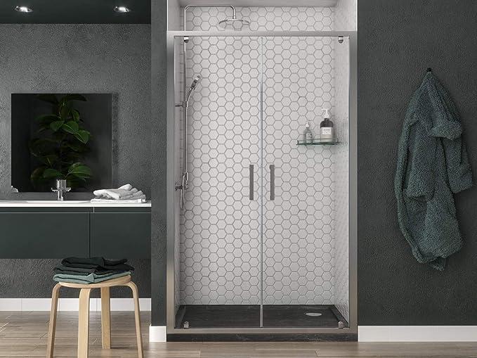 Mampara de ducha con doble puerta batiente para hueco de apertura saloon, altura 190 cm, perfil cromado y cristal transparente 6 mm: Amazon.es: Bricolaje y herramientas