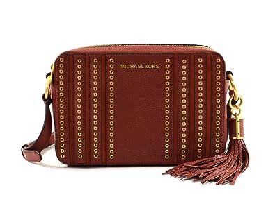 aa0644909eae Michael Kors Mini Grommets Embossed Leather Large East West Crossbody Bag  Purse Handbag (Brick)