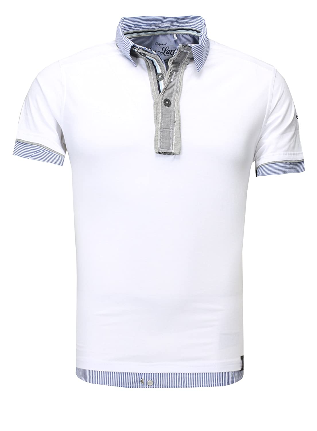 Key Largo Hombres Polo Camisa Nation V-Cuello Tapeta Collar Double ...