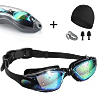 Swim Goggles,[Anti Fog/UV Resistant] Wide Clear Vision Swimming Goggles for adults Men Women,Bright Color Plated Swimming Glasses [With Nose+Ear Plugs+Swim Cap] Adjustable Strap,Comfortable Fashion