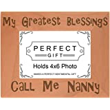 Gift for Grandma Blessings Call Me Nanny Natural Wood Engraved 4x6 Landscape Picture Frame Wood